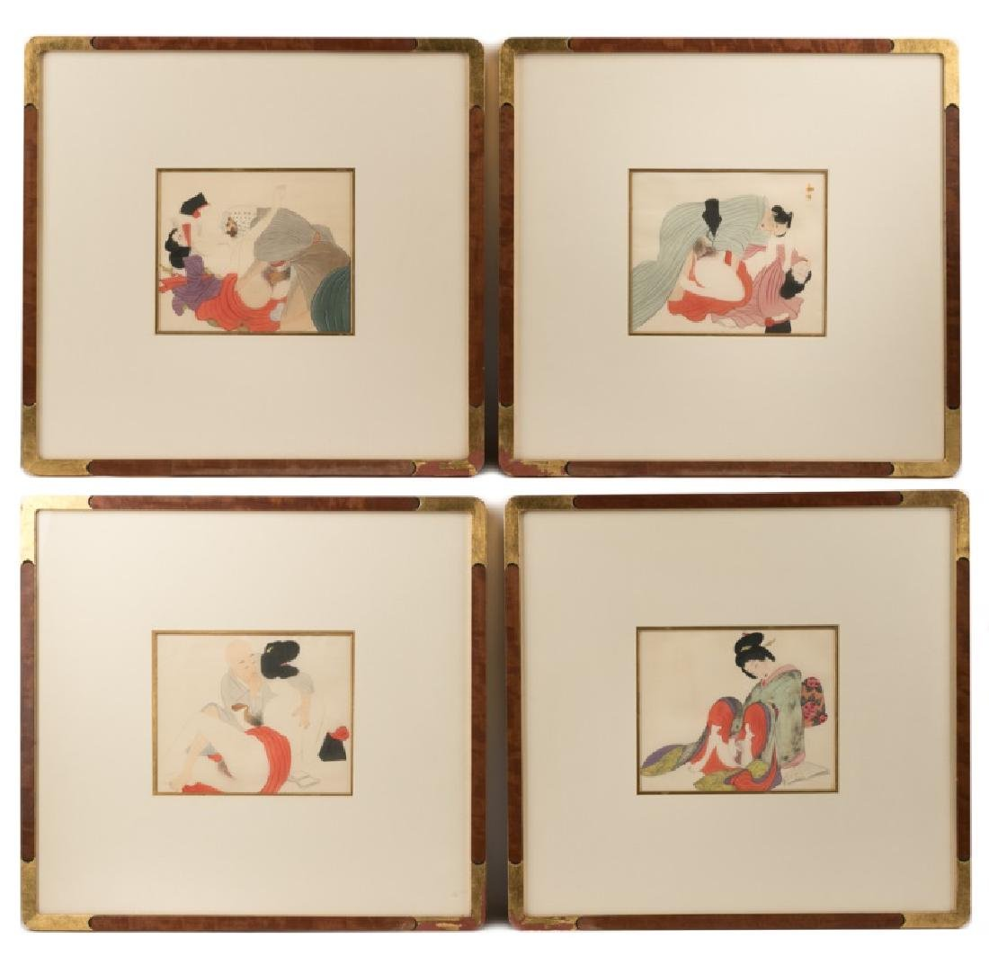 Group of Four 19th C. Hand Painted Shunga on Silk