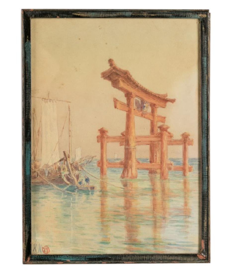 Japanese Water Temple Signed Watercolor