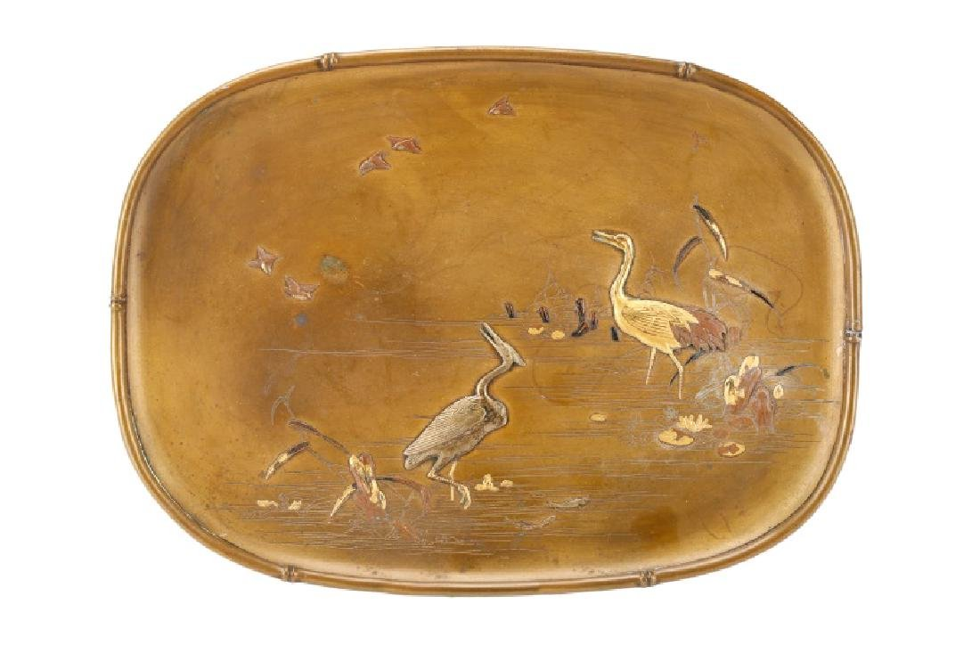 Japanese Mixed Metal Card Tray, Crane Motif