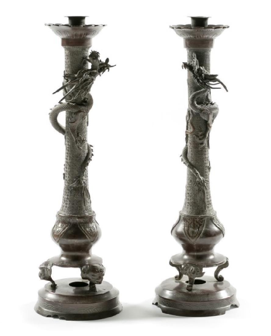 Pair, Bronze Patinated Dragon Candlesticks