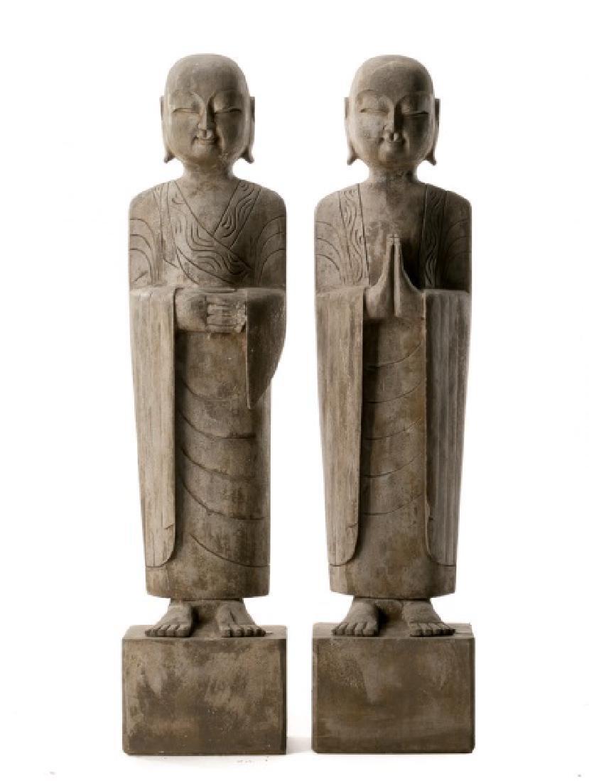 Pair, Chinese Stone Garden Lohan Figures