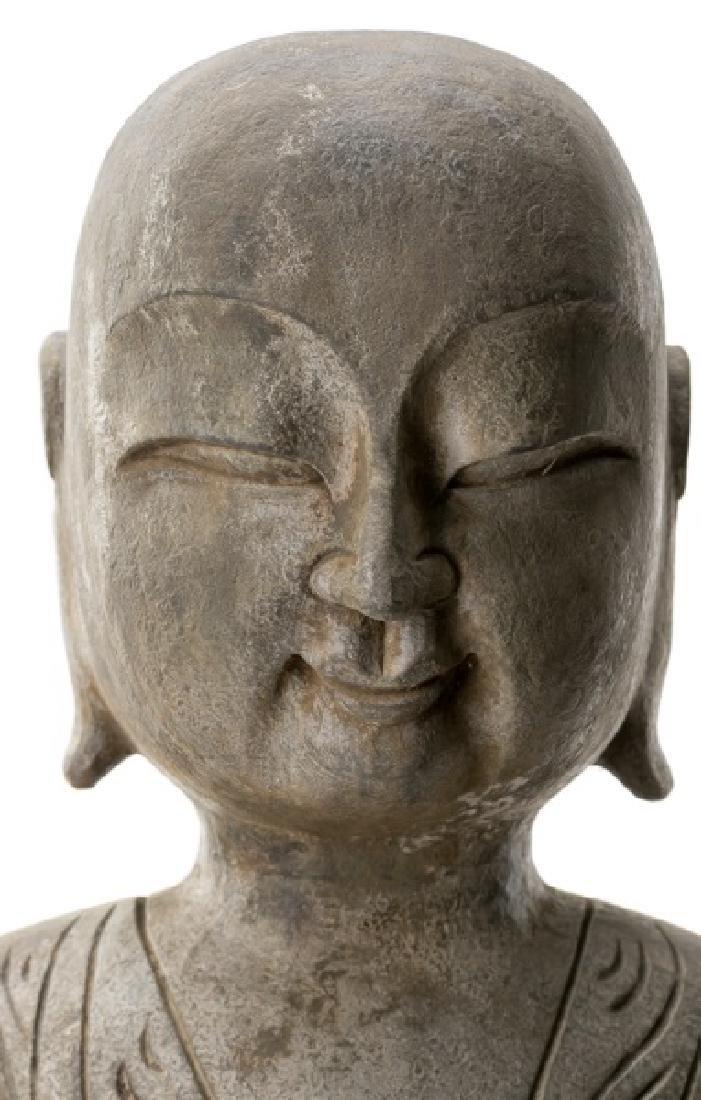 Pair, Chinese Stone Garden Lohan Figures - 2