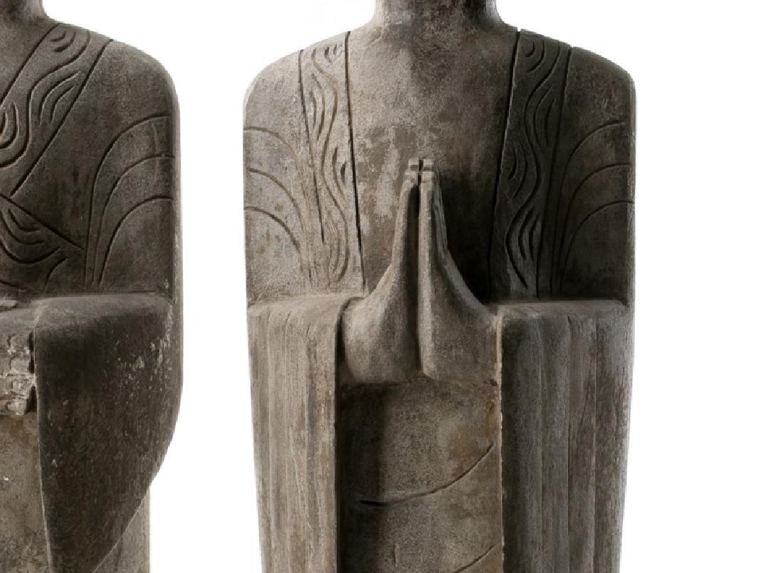 Pair, Chinese Stone Garden Lohan Figures - 3