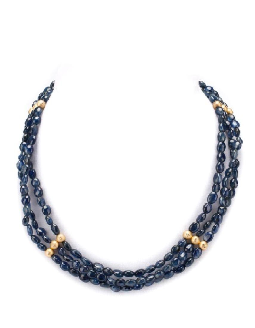 14k Gold & Sapphire Beaded Three Strand Necklace
