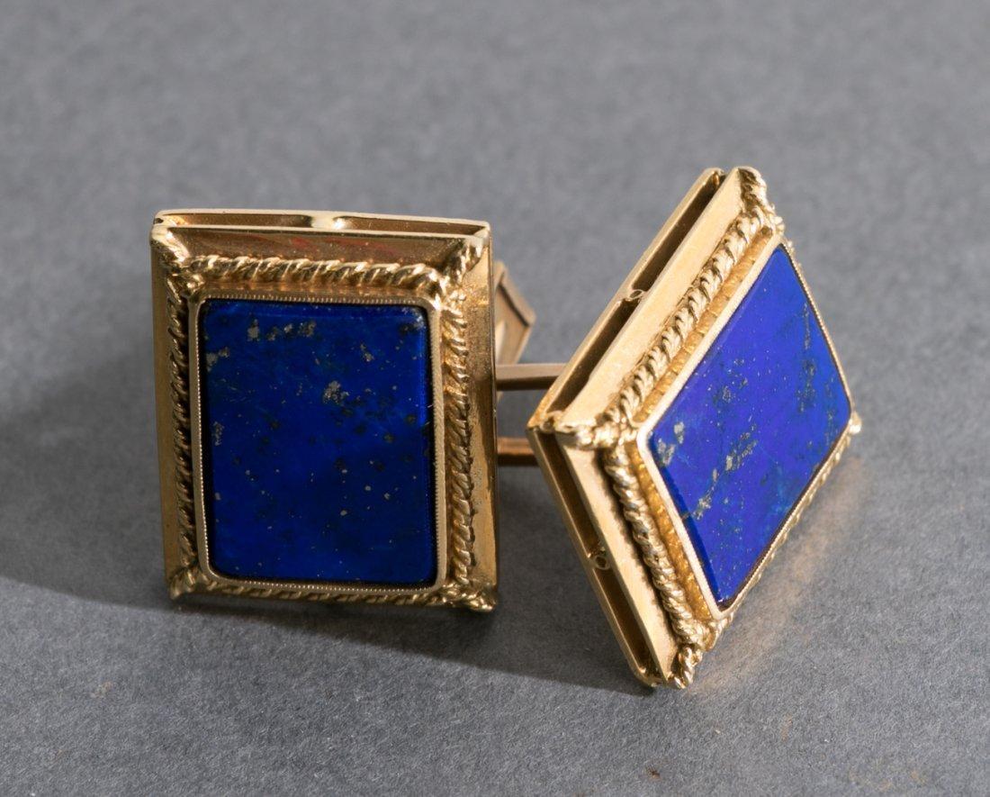Pair, 18k Yellow Gold & Lapis Lazuli Cufflinks
