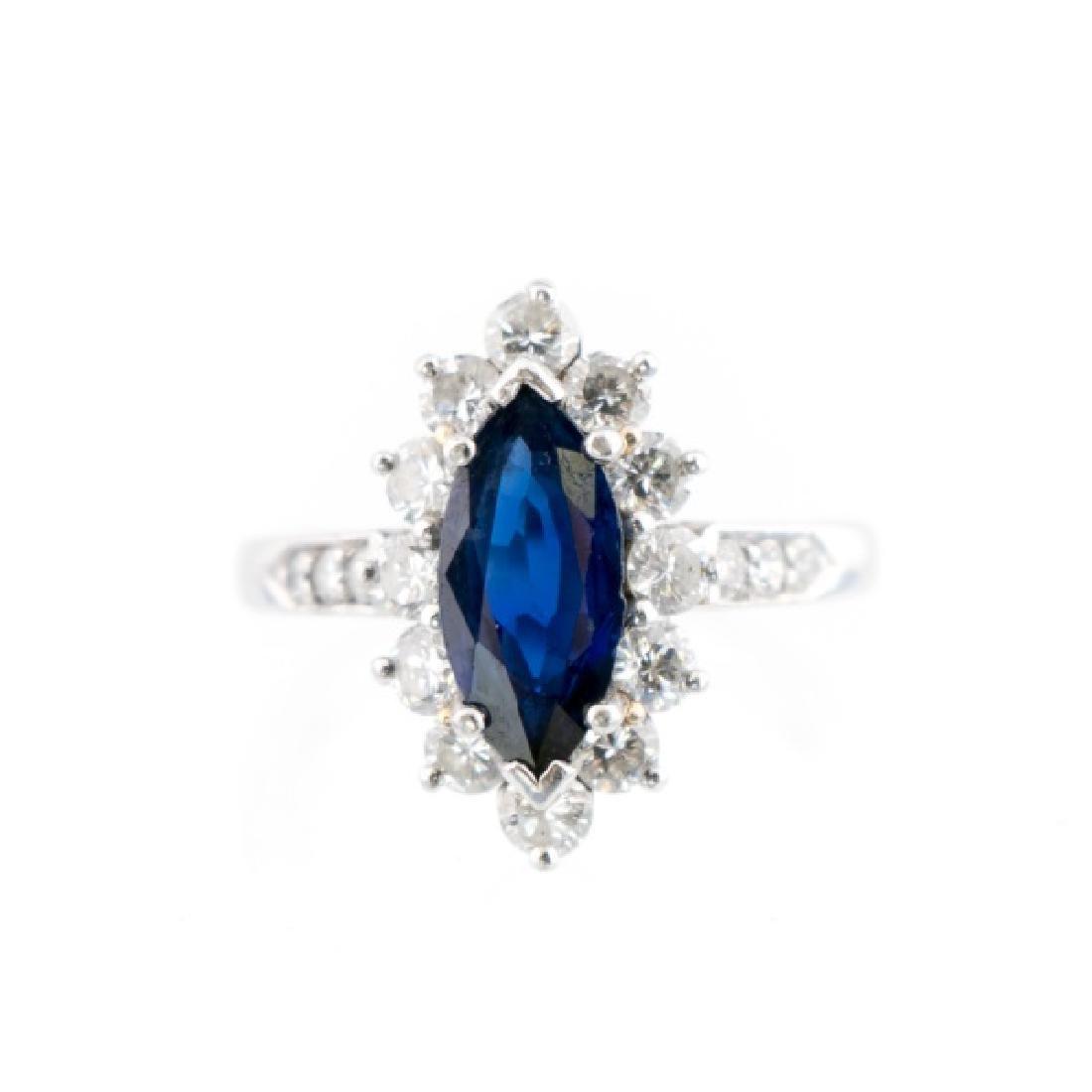 Platinum, Marquise Cut Sapphire, & Diamond Ring