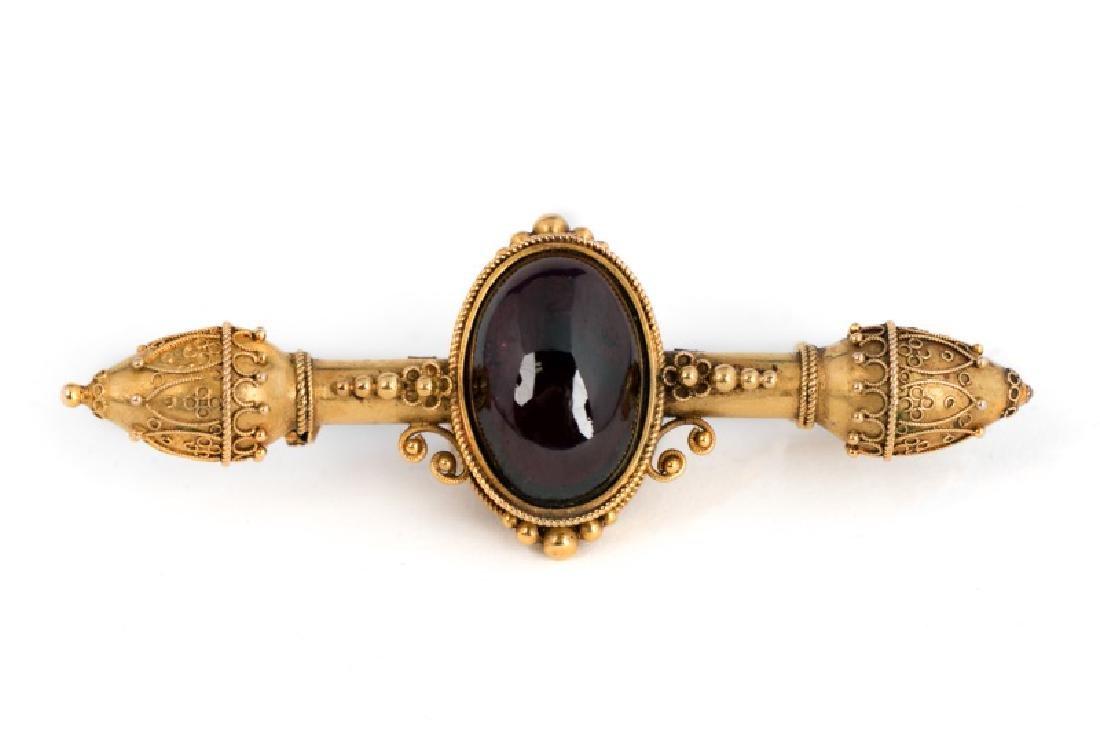 Victorian 18k Rose Gold & Garnet Pin or Brooch