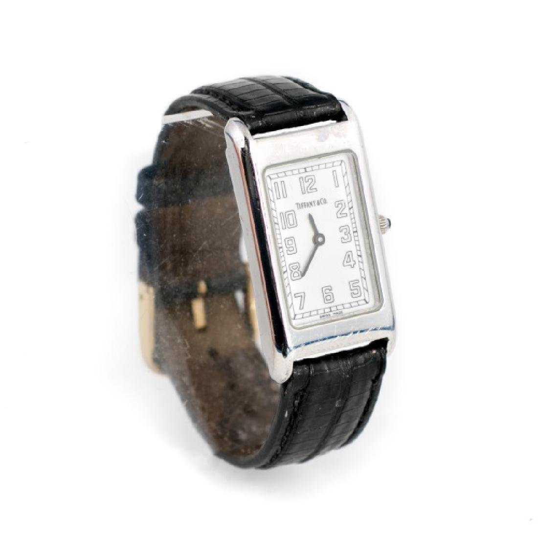 Tiffany & Co. Black Leather Wrist Watch