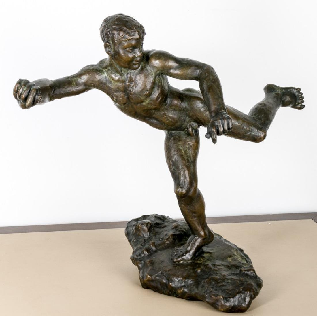 A. Terrell, Bronze Figure of Nude Running Male