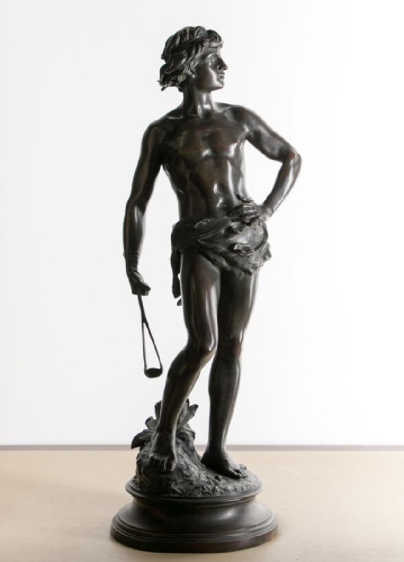 Adrien Gaudez, 19th C. Bronze Sculpture of David