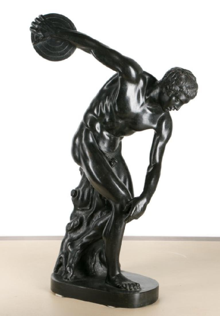 19th C Italian School, Bronze Nude Discus Thrower