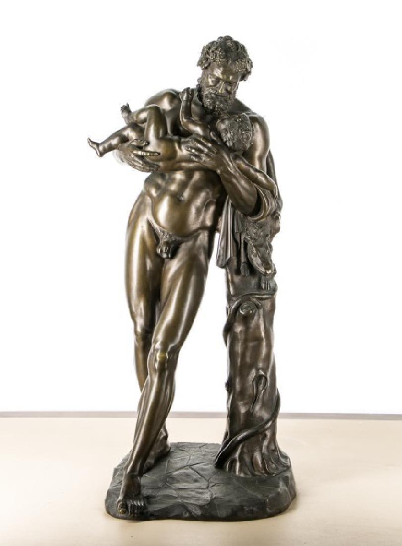 Bronze Figure of Silenus Holding Dionysus, 19th C