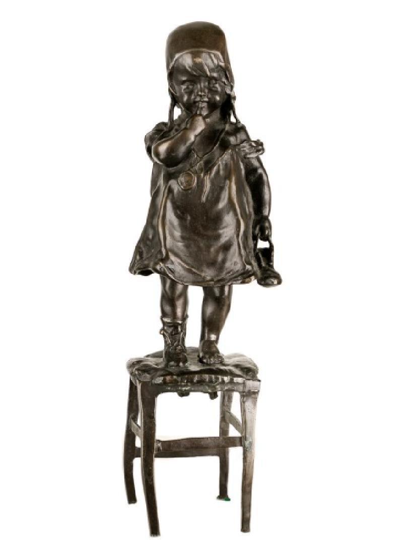 Bronze Sculpture of Girl on Chair After Juan Clara