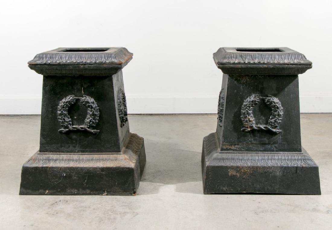 Pair of Large Black Wrought Iron Urn Bases