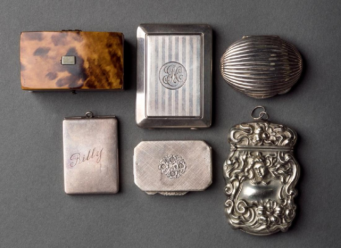 Collection of 6 Small Silver & Wood Objects