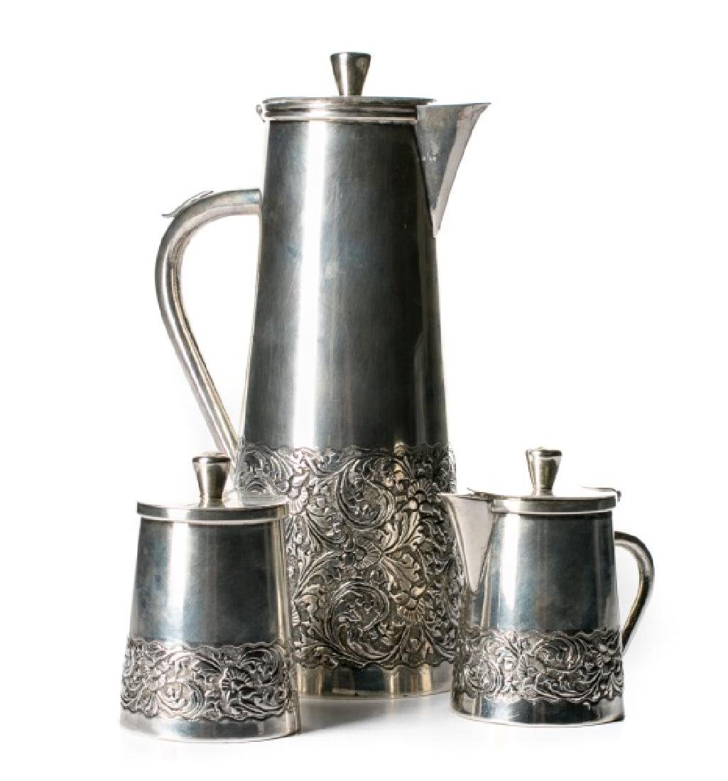 Three Piece Indonesian Silver Coffee Service