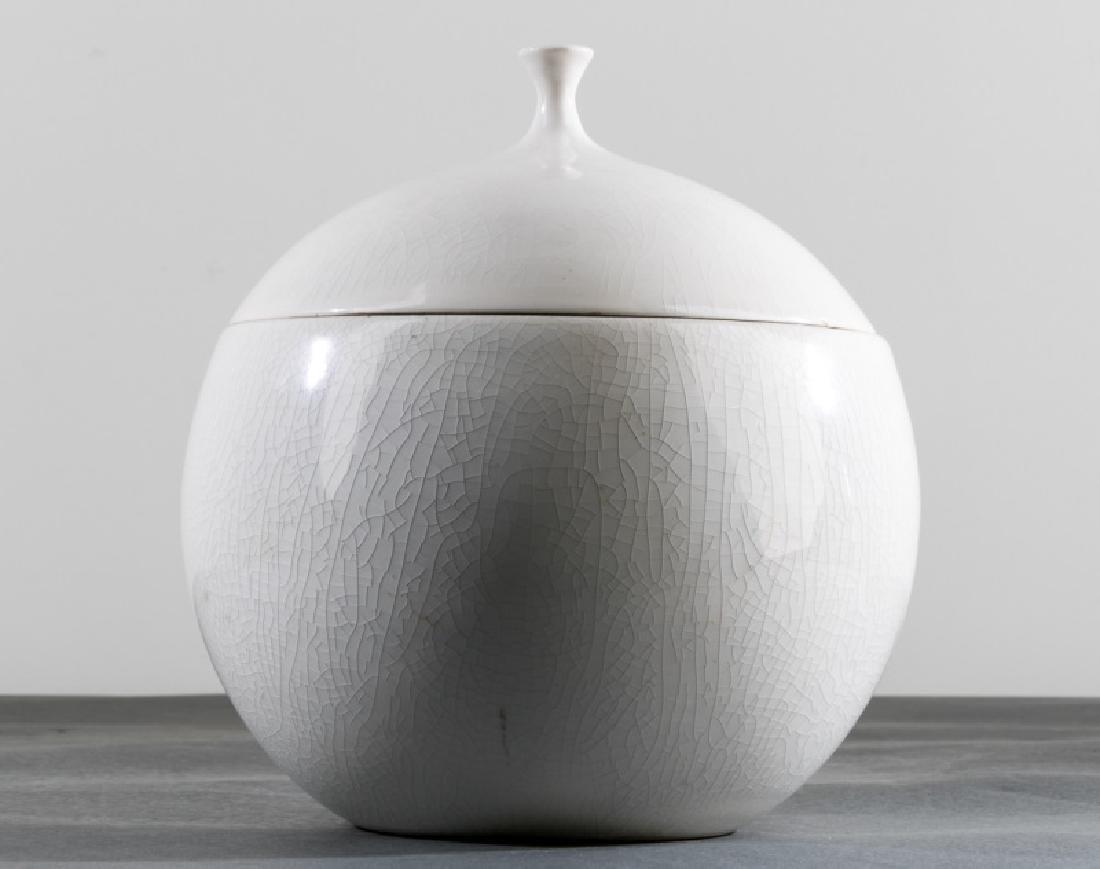 La Gardo Tackett for Schmid White Lidded Bowl