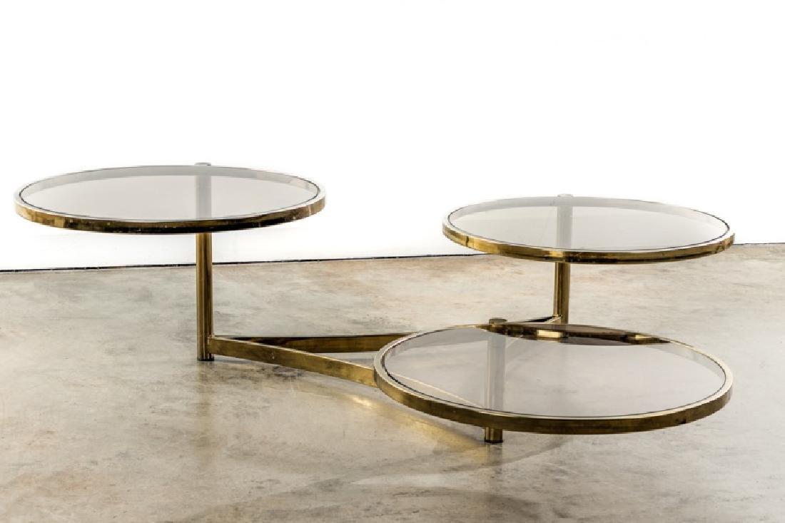 Glass Swivel Coffee Table.Milo Baughman Tri Level Brass Glass Swivel Table