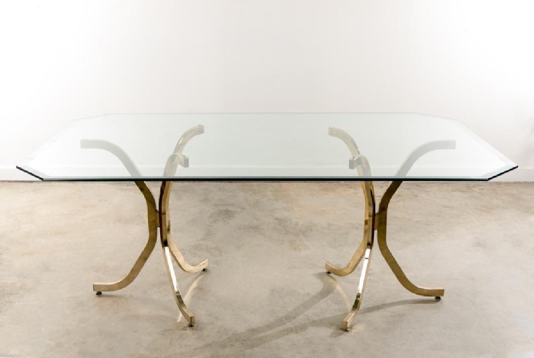 Milo Baughman Style Glass & Brass Dining Table