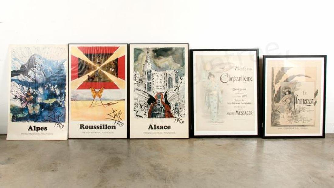 5 French Advertising Posters, 3 Dali / 2 Musicals