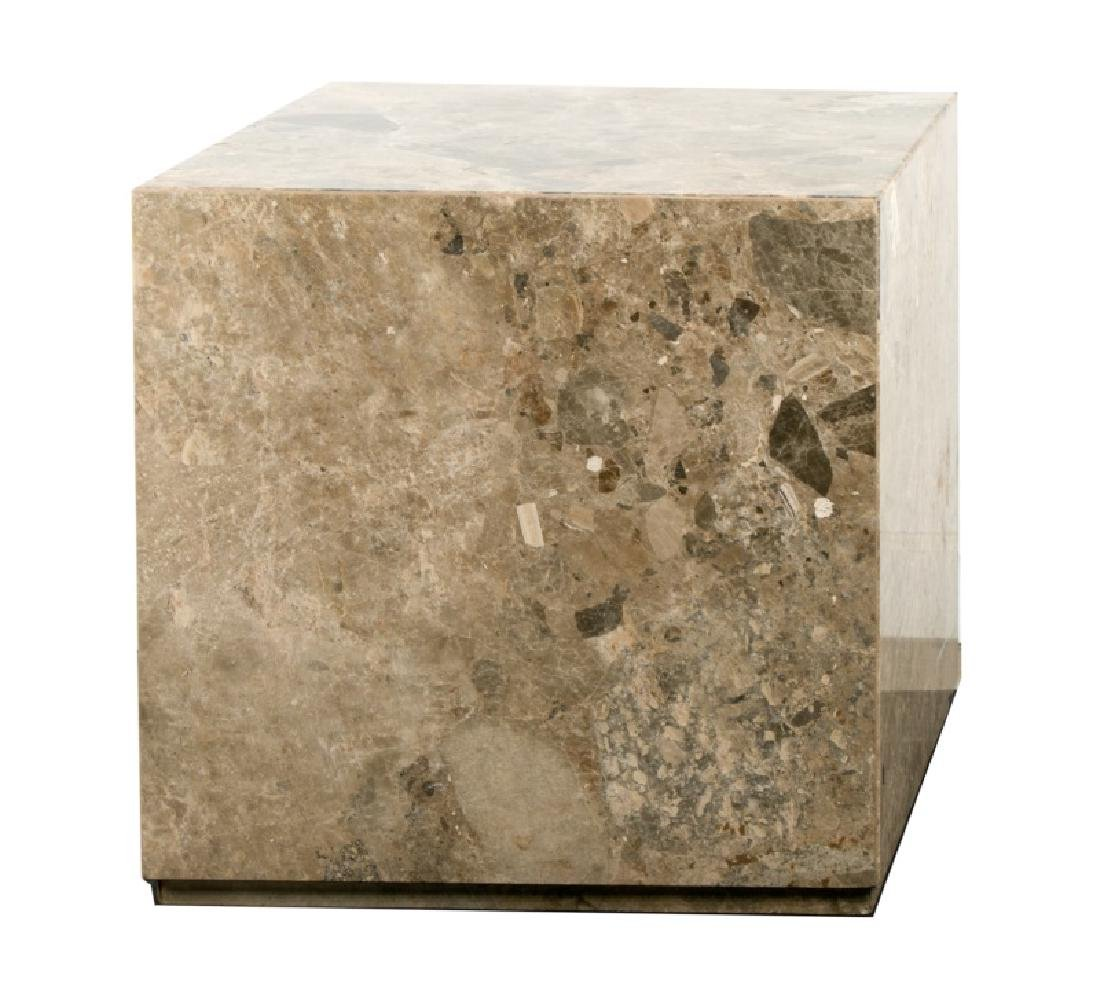 Marble Cube Form Side Table, 20th Century