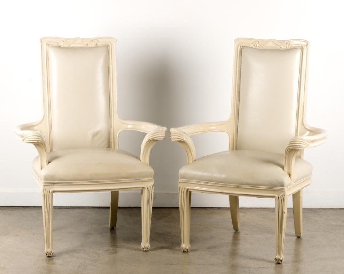 Pair of White Lacquer Interior Crafts Armchairs