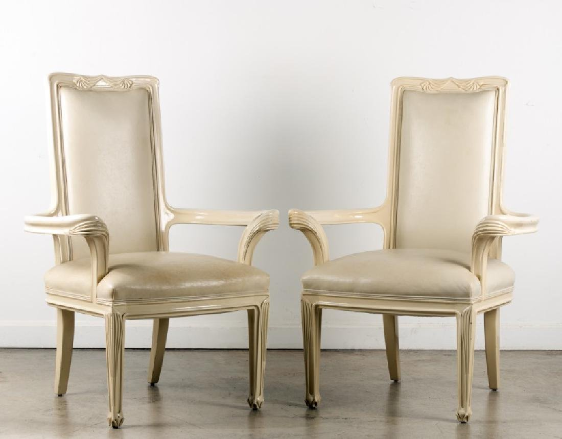 Pair of Interior Crafts White Lacquer Armchairs