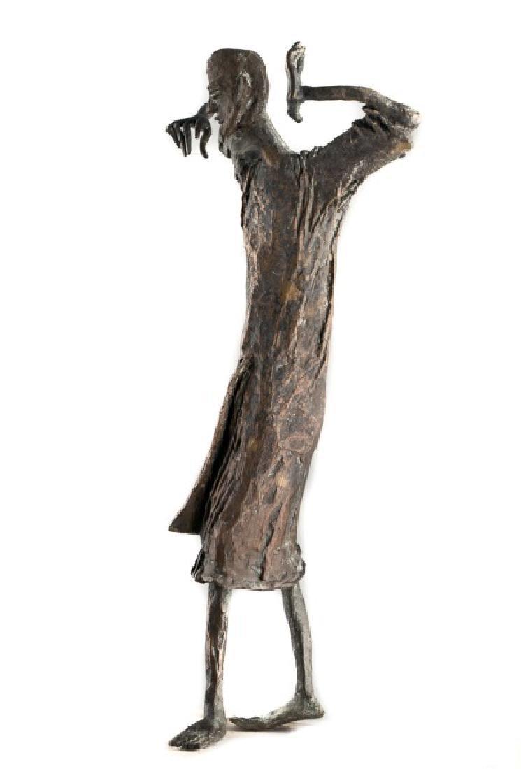 Brutalist Bronze Figural Sculpture on Stand