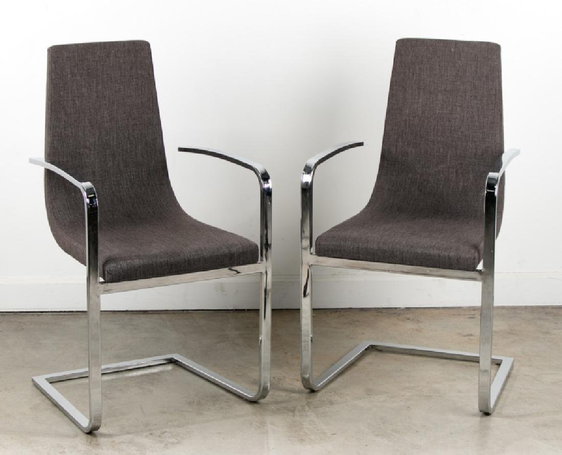 Pair of Modern Chrome Side Chairs by Calligaris