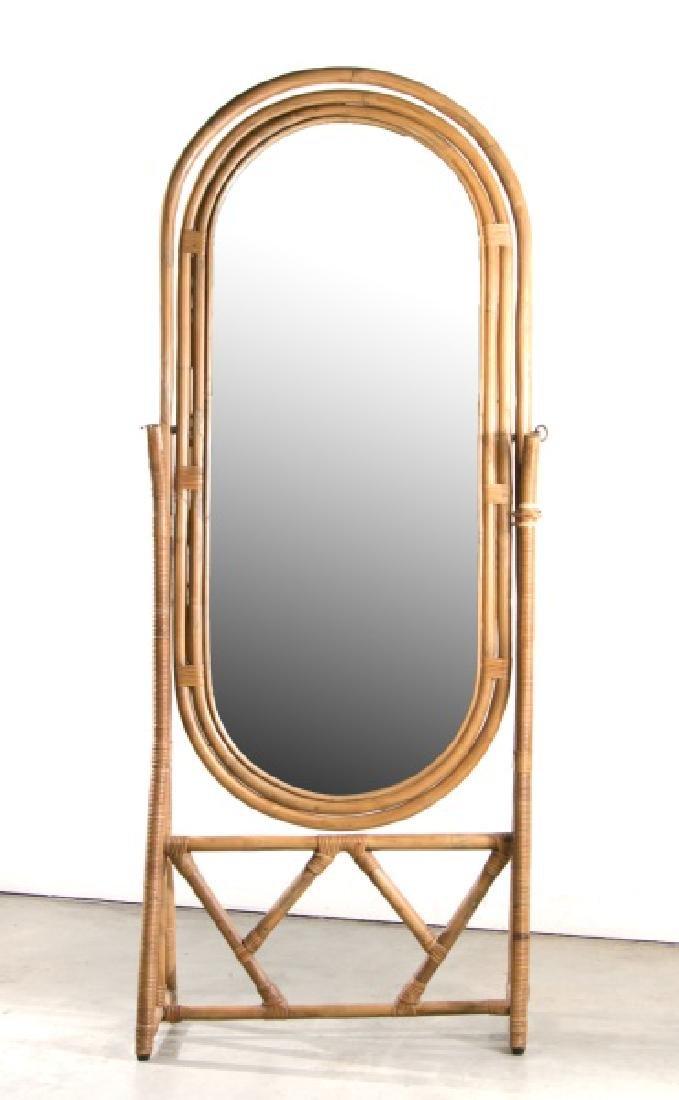 Contemporary Bamboo & Rattan Cheval Mirror