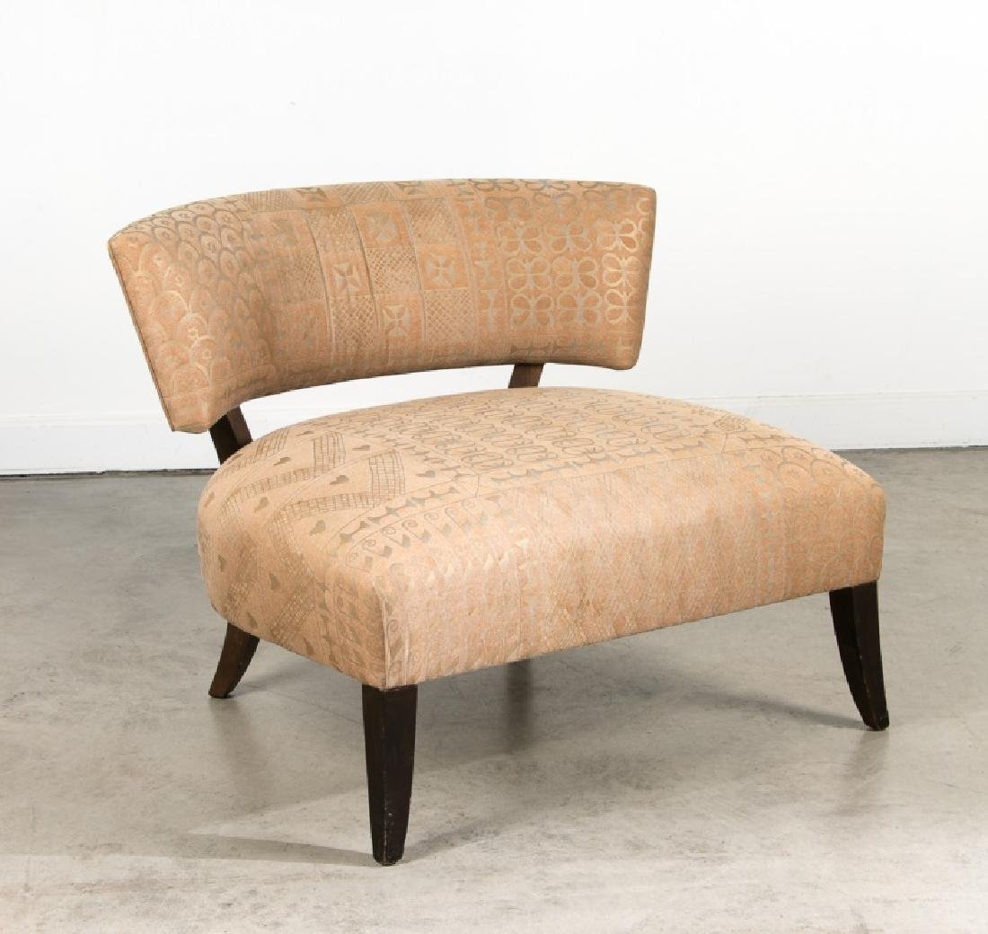 Tan Upholstered Tribal Modern Accent Chair
