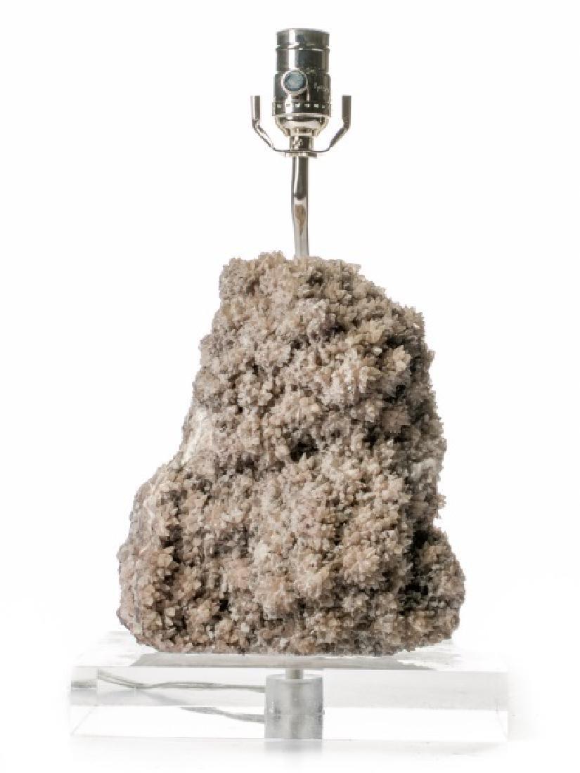 Mineral Specimen Table Lamp on Lucite Base