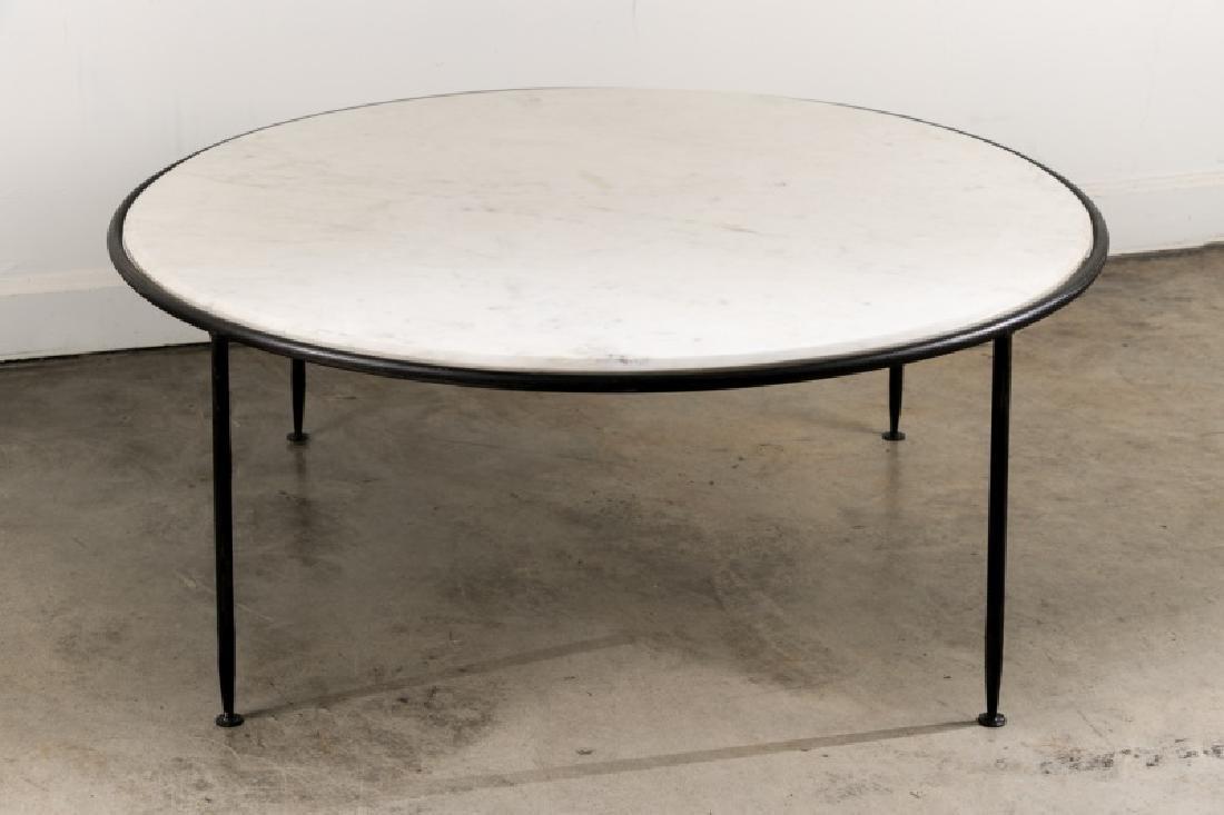 Modern Italian Iron & Carrera Marble Coffee Table