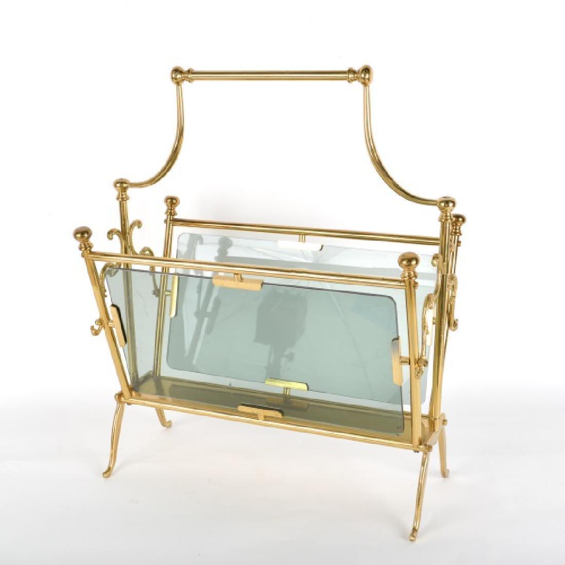Attr. to Fontana Arte Brass/Glass Magazine Holder