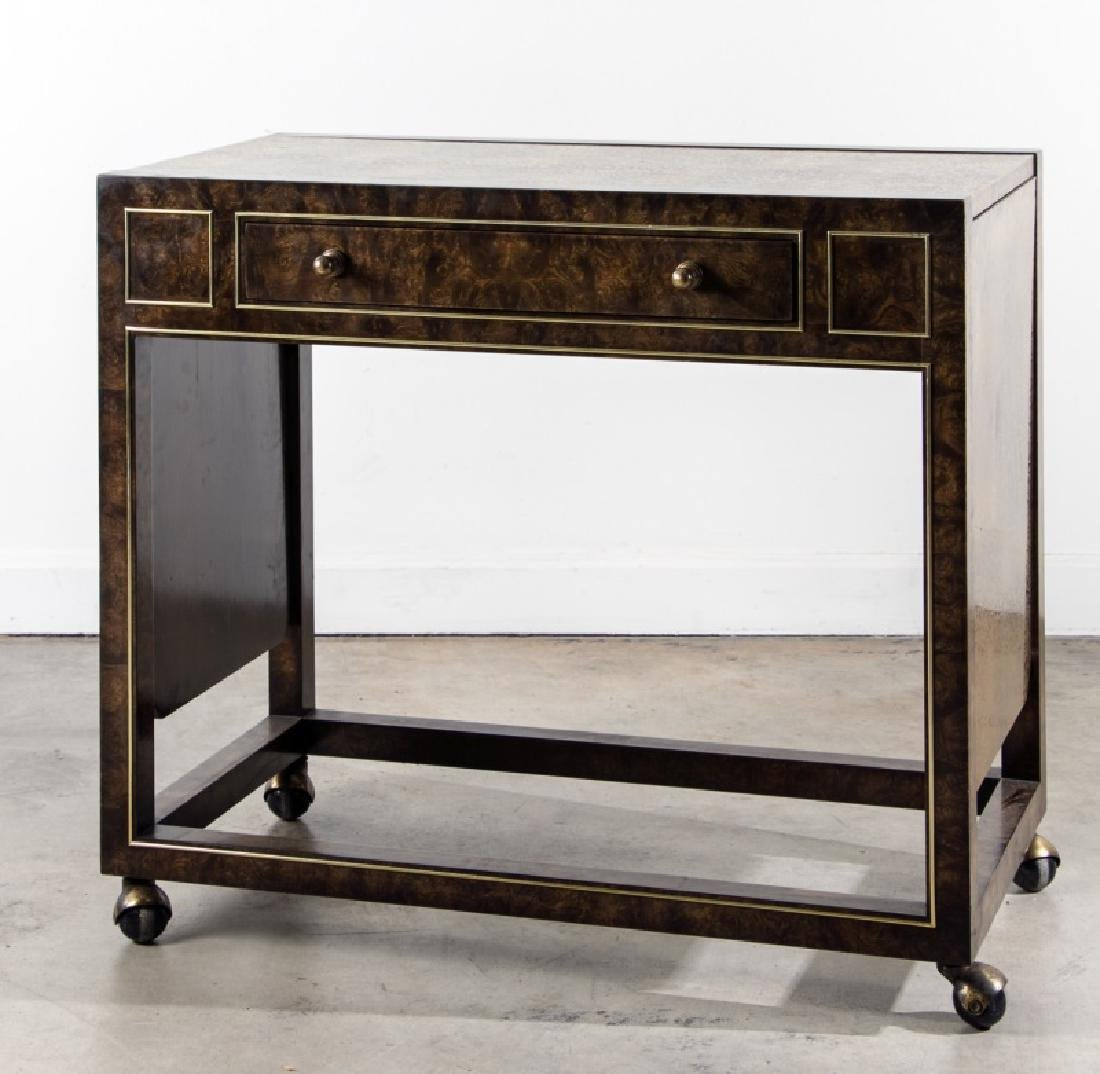 Mastercraft Burled Wood & Brass Rolling Bar Cart