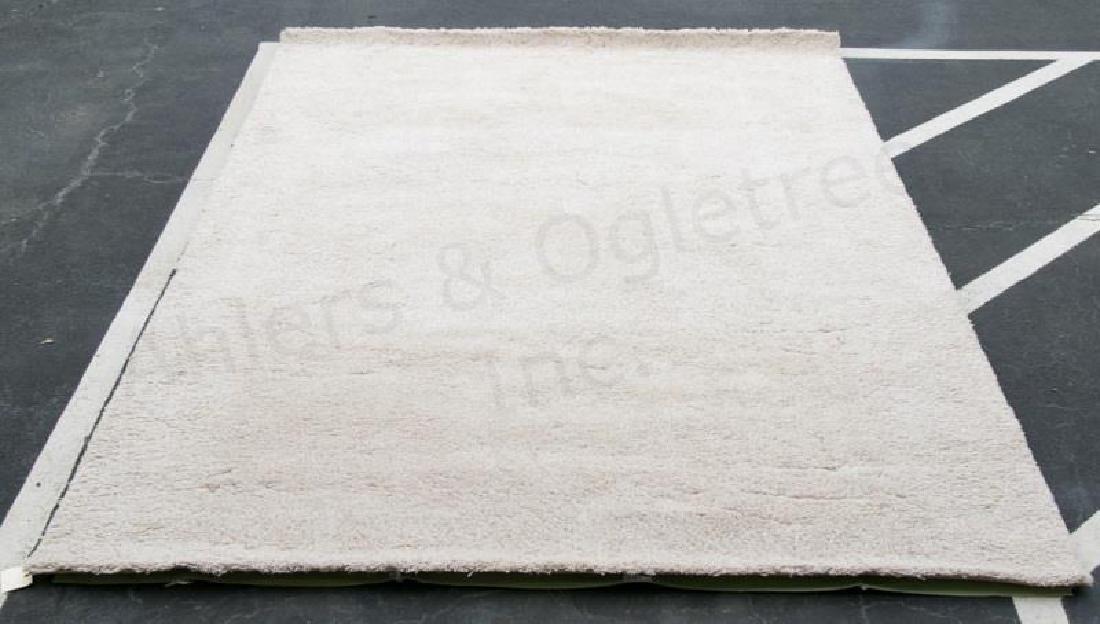 "Modern 1.5"" Pile Cream Wool Shag Rug, 12' x 8'"