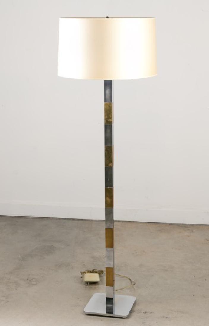 Hansen Lighting 1960s Floor Lamp, Chrome & Brass
