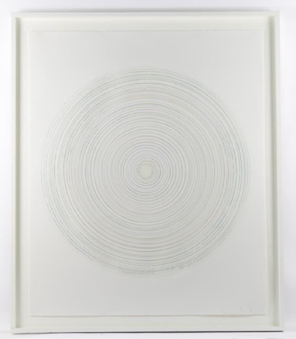 "Damien Hirst Framed Spin Art, ""Follow"" Signed"