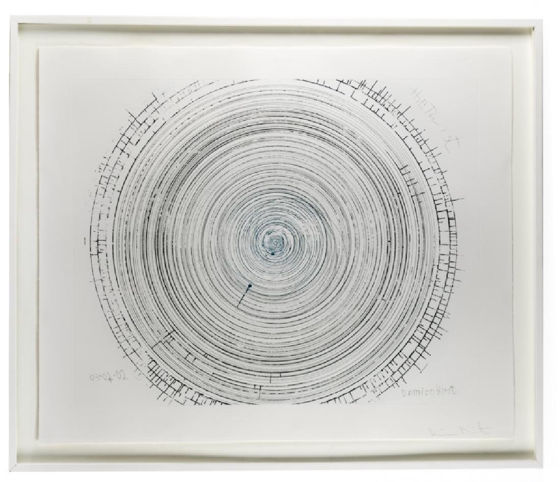 "Damien Hirst Framed Spin Art,""The Twist"" Signed"