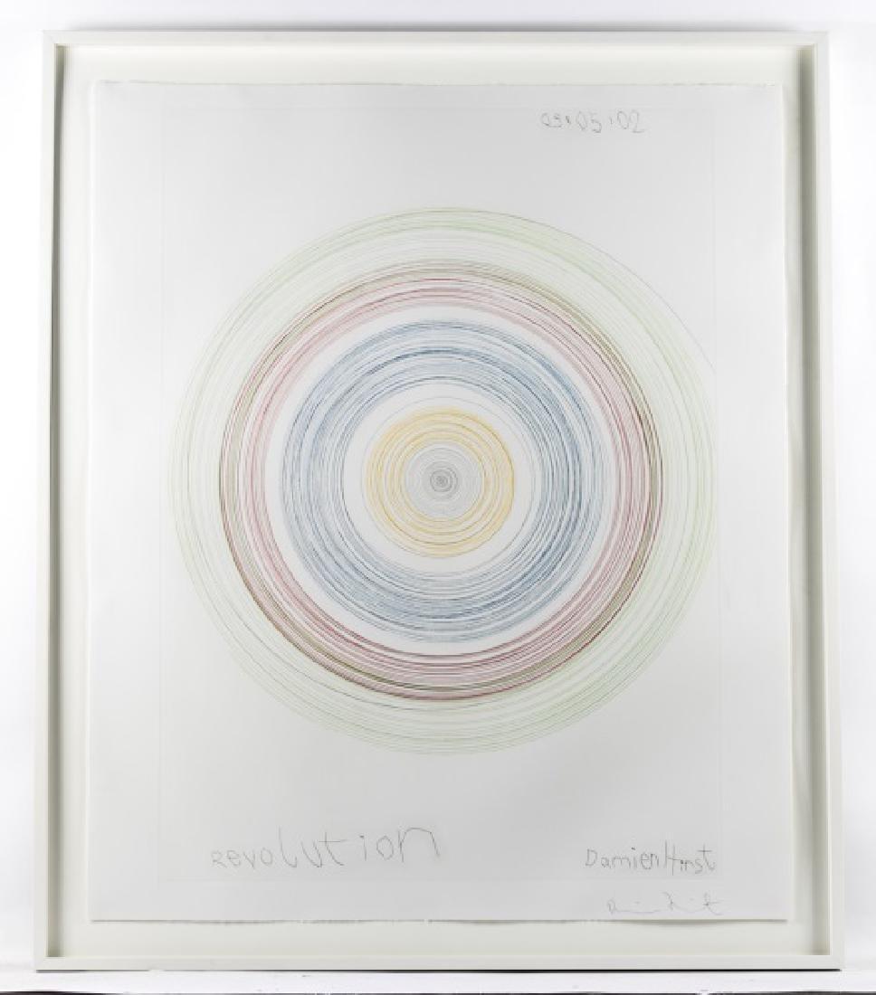 "Damien Hirst Framed Spin Art, ""Revolution"" Signed"