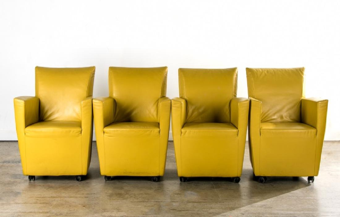 Set of 4 Green Leather Montis Jacket Chairs