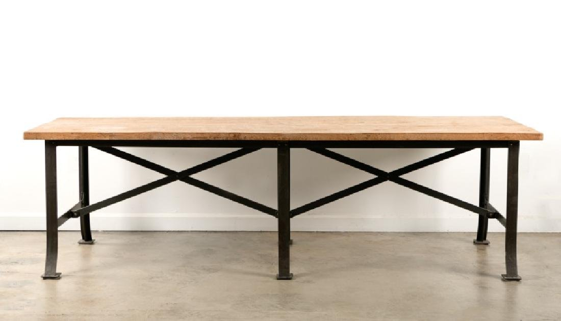 Monumental Industrial Wood & Iron Dining Table