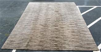 """Modern Hand Knotted Wool Striped Rug, 118"""" x 165"""""""