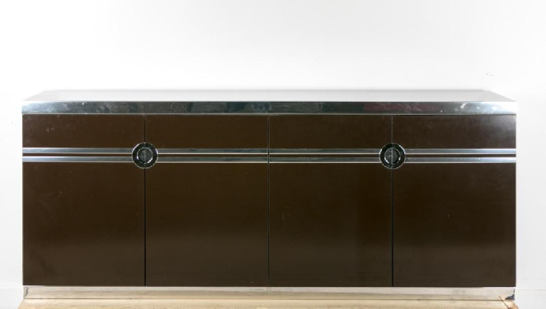 Pierre Cardin Signed Chrome Accented Sideboard