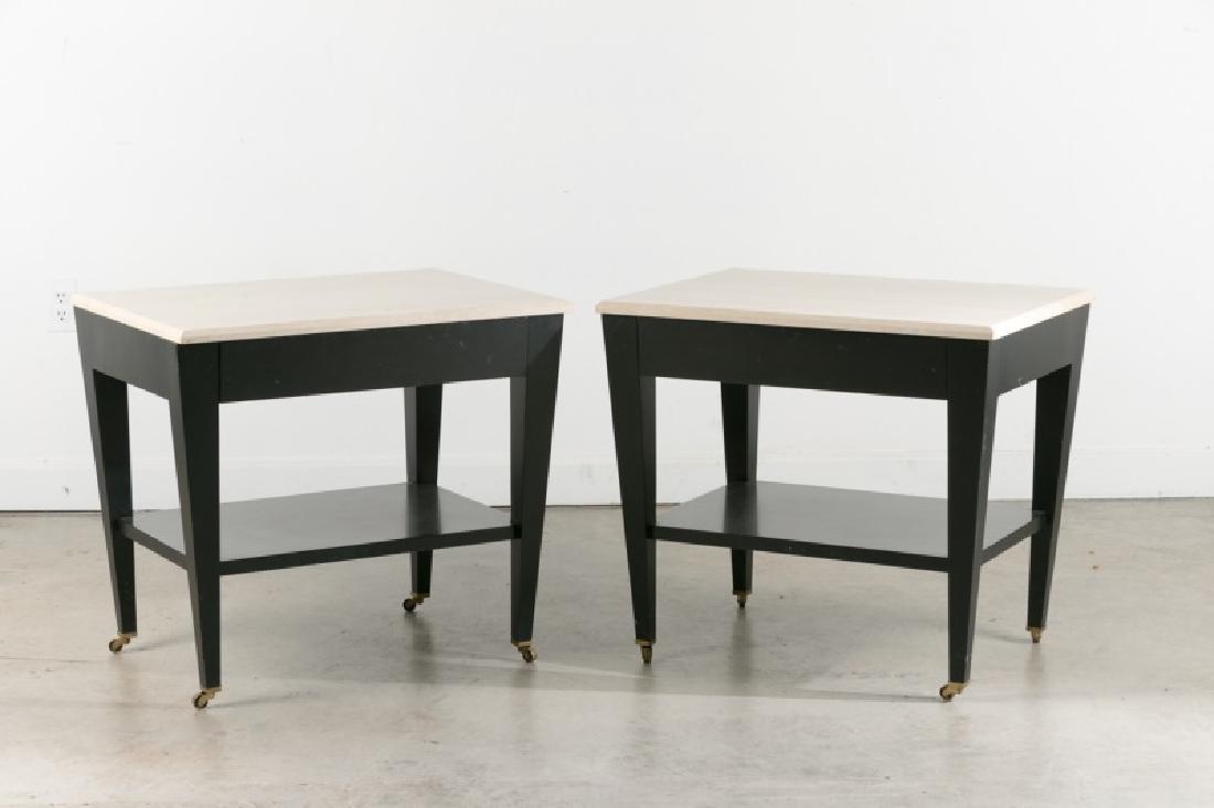 "Pair, Donghia ""Paris"" Side Tables, Travertine Tops"