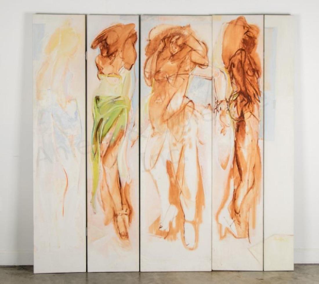 5 Panel Abstract Figural Oil on Canvas, Joe Almyda