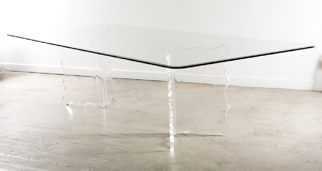20th C. Lucite & Glass Hollywood Regency Table