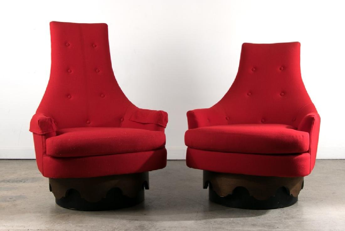 MCM Adrian Pearsall King & Queen Red Swivel Chairs