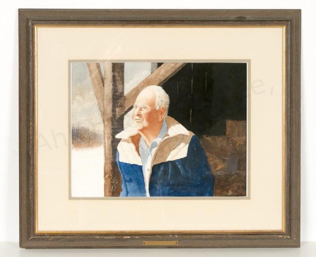 William Entrekin Signed Gouache Portrait of a Man