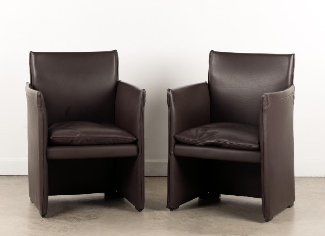 """Pair, Bellini for Cassina Leather """"Break"""" Chairs"""
